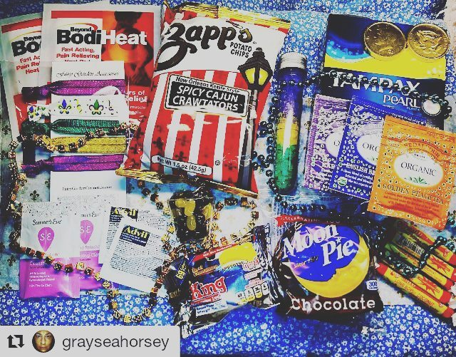 We love making  customers happy!  #Repost @grayseahorsey with @repostapp ・・・ Yay!! 💝🎉📿📿👑 Here's my February @bonjourjoliebox 👑📿🎉💝 The theme is It's Mardi Gras Baby!! 🎉💕 I love this company! 🤗 The Gift ~ #FairyGardenCosmetics hair ties in #limitededition #MardiGras colors 💜💚💛 The Pampering ~ #BonjourJolie Mardi Gras bathsalts! And they smell like #KingCake 👑 The Edibles ~ a shot glass filled with #jellybelly candy ~ Coconut Long Boys by #atkinsoncandy ~ chocolate coins ~ #Zapps chips unique #crawtators #louisiana made kettle chips ~ a double decker #chocolate Moon Pie 🍫🌛 ~ #StDalfourTea yummy Made In France #tea ☕ ~ The Original King marshmallow treat 🍌🤗👑📿 Also included in my box #Advil #SummersEve wipes #Tampax #BeyondBodiHeat heating pads and I can't forget to mention the adorable Mardi Gras beads! 📿🤗💝💕🎉 #subscriptionbox #unboxing #flatlay #spoilers  #period #PMS #girlproblems  #subscriptionaddiction #bonjourjoliebox #periodbox #periodboxes