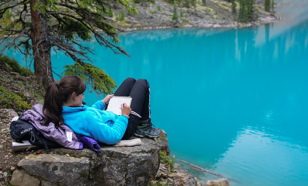 drawing by lake moraine in Banff National Park.jpg