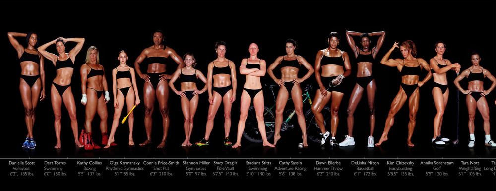 Each of these women is a professional athlete at the peak of her career. Notice how different each body type is. To see the full photo series, visit this site.