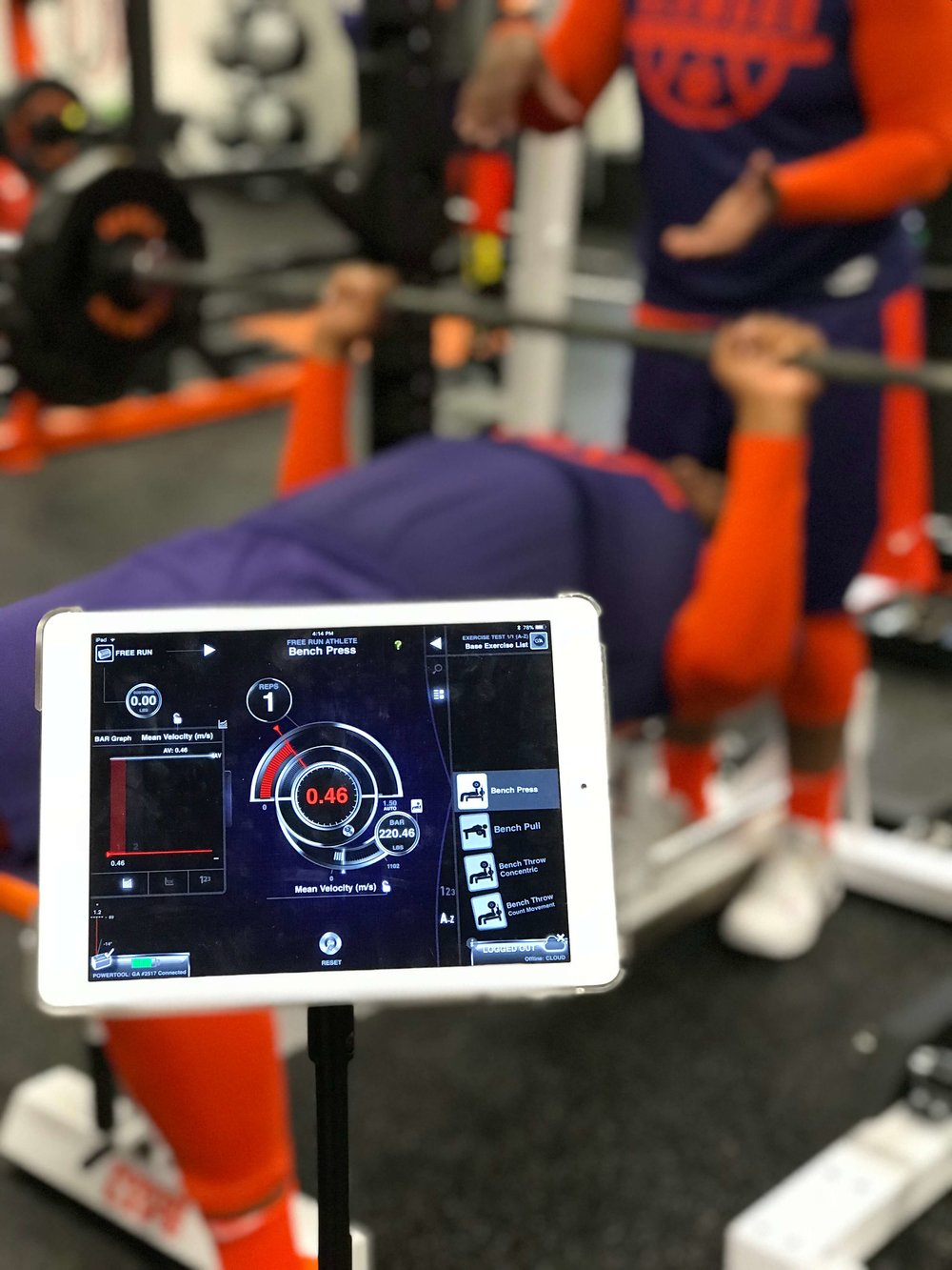 Clemson Basketball uses the GymAware system to measure bar velocity in certain key movements, to evaluate an athlete's ability to product force quickly.