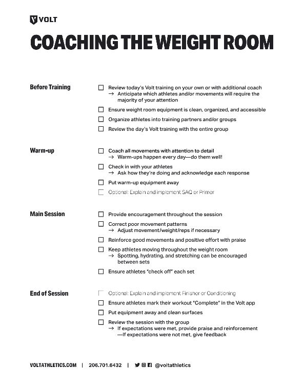 Check out the Coaching the Weight Room PDF -