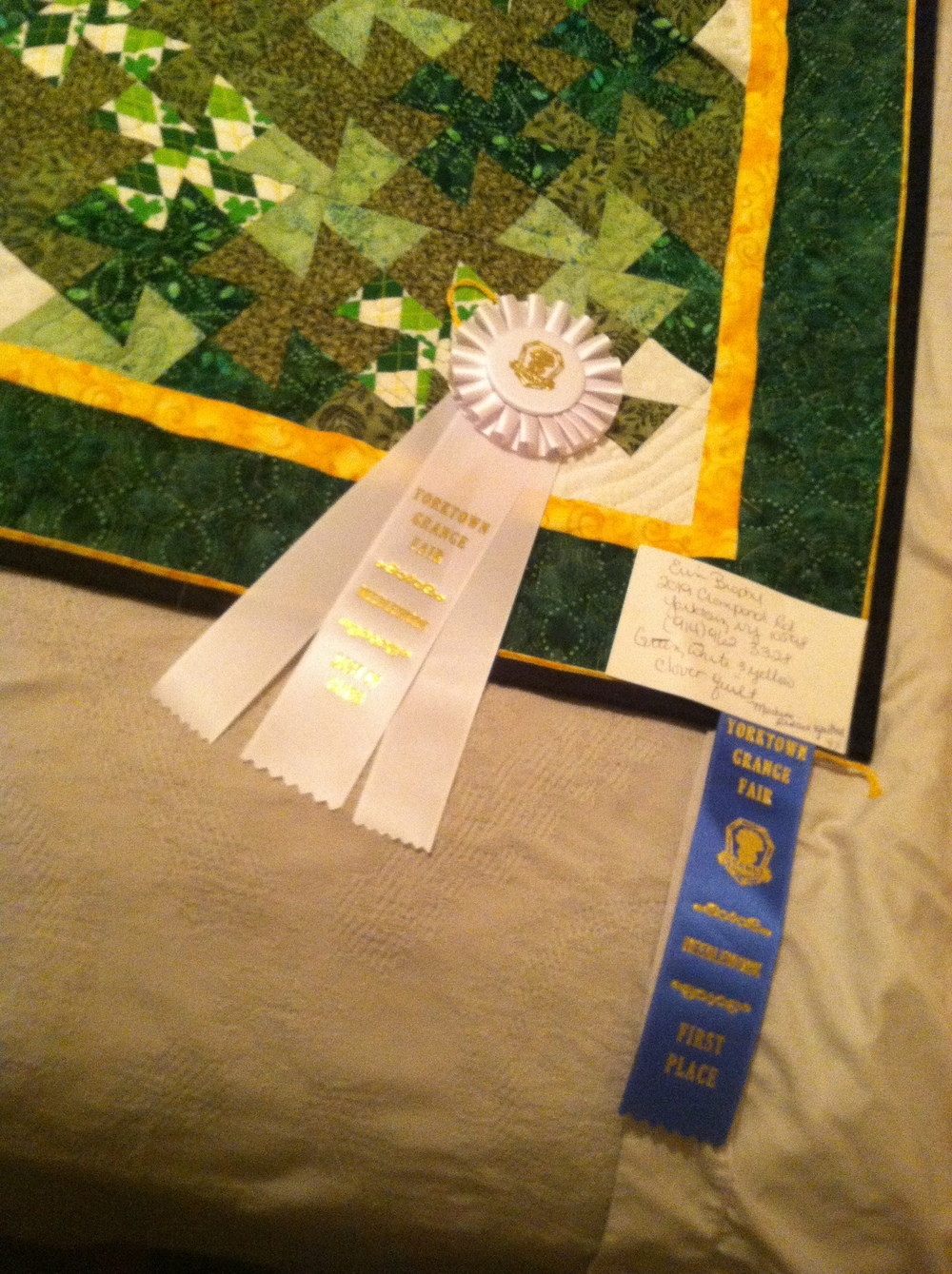 My clover quilt also won a Blue Ribbon as well as Best in Class!!