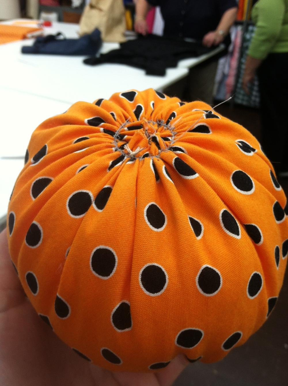 Look at how the bias of that fabric just folds so beautifully and really looks like the lines of a pumpkin!