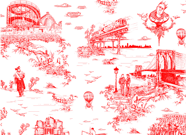 Brooklyn Toile Wallpaper | Cool Material