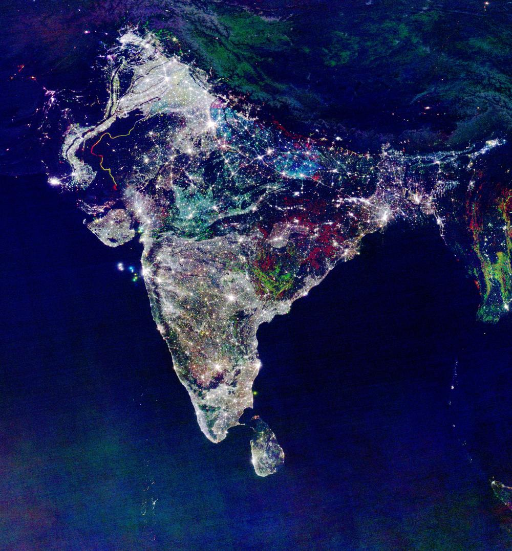 Amazing: a satellite image of India celebrating Diwali: