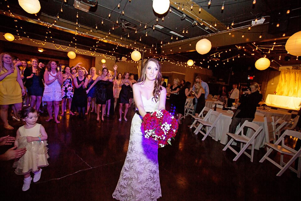 Bouquet toss with Michael Lauren Weddings DJ services.