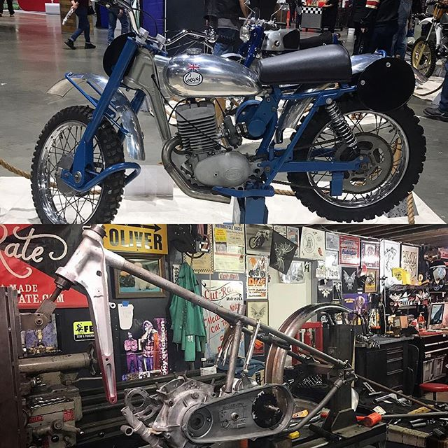 In case you were wondering. Above is a 1964 greeves MX 2 stroke. Below is the start of my #bornfree11 OHV UL frame.  Not a ton of noticeable progress on my frame in the past week, but things are happening. Bungs have been made, measurements have been taken. I'm gonna make it work. 👍🏻. #bf11invitedbuilder #greeves #harleydavidson