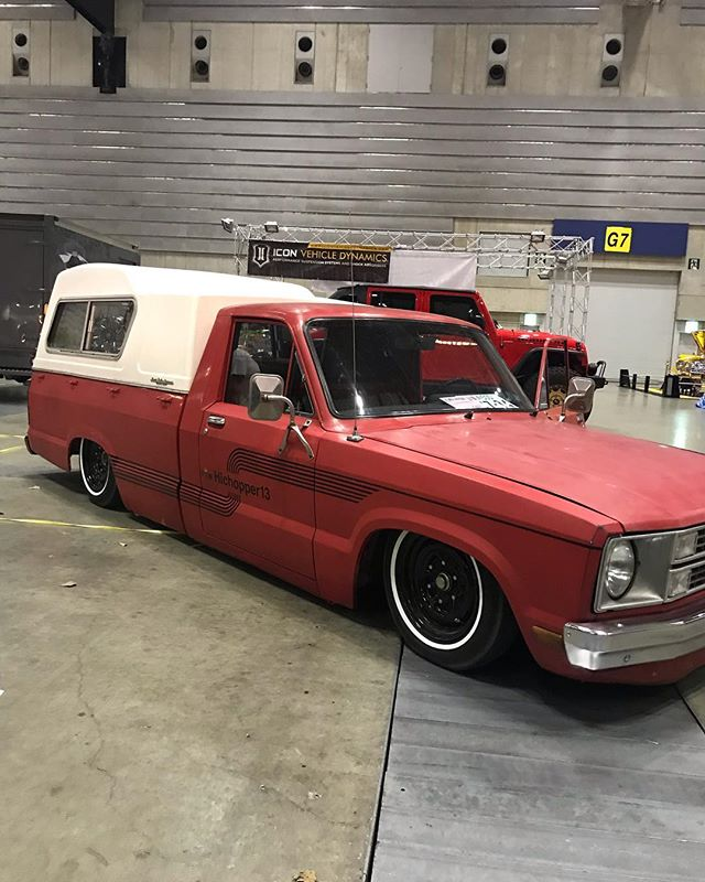 Mr. @hichopper13 comes to party just in time (dirty as hell) with another cool ass ride. 1980 ford courier on acuair. #hrcs. #yokohama #mqqneyes