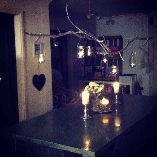 whipped up a floating sticks and candles chandelier today just in time for the engagement party (Taken with instagram)