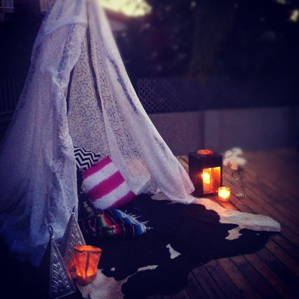 we made a teepee today! wines, an open fire and snuggles in here tonight (Taken with instagram)