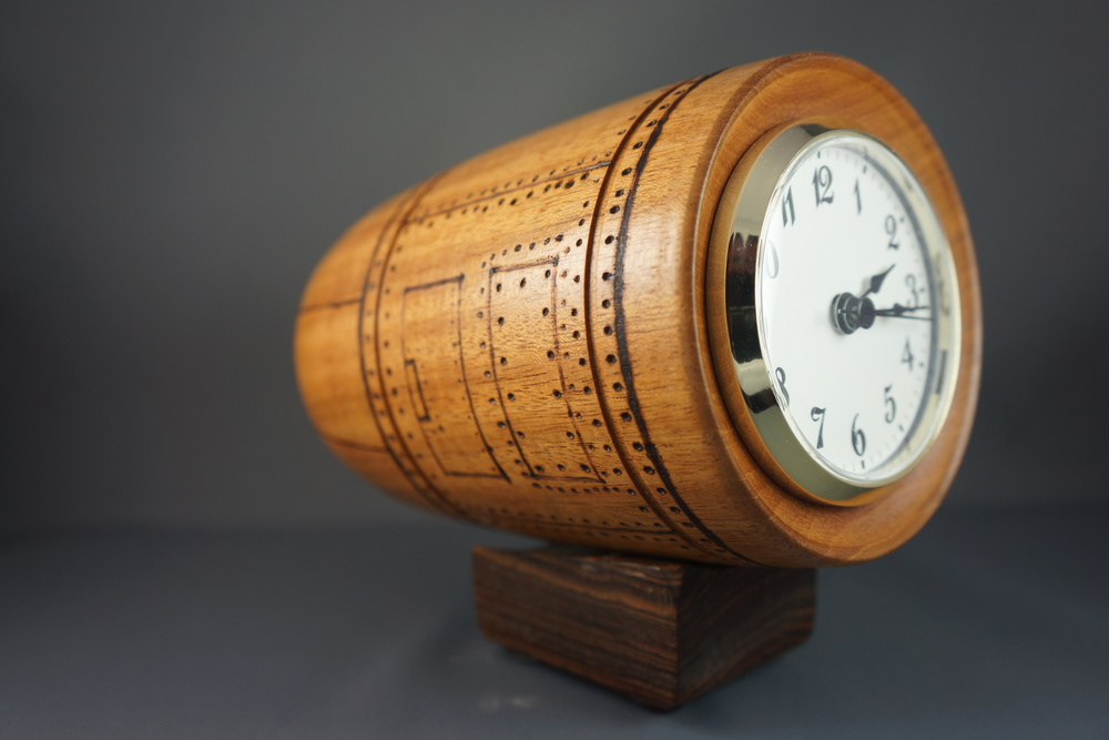 Mahogany Jet Engine Clock