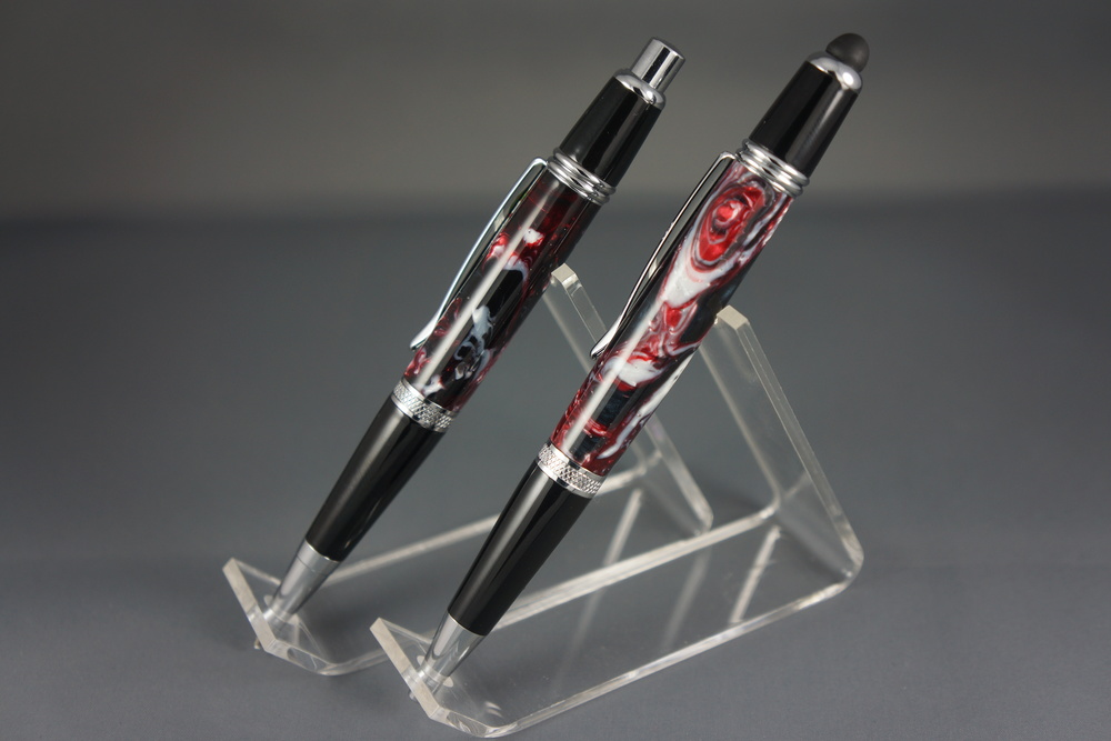 Smokey Red Pen & Pencil Set /w Stylus