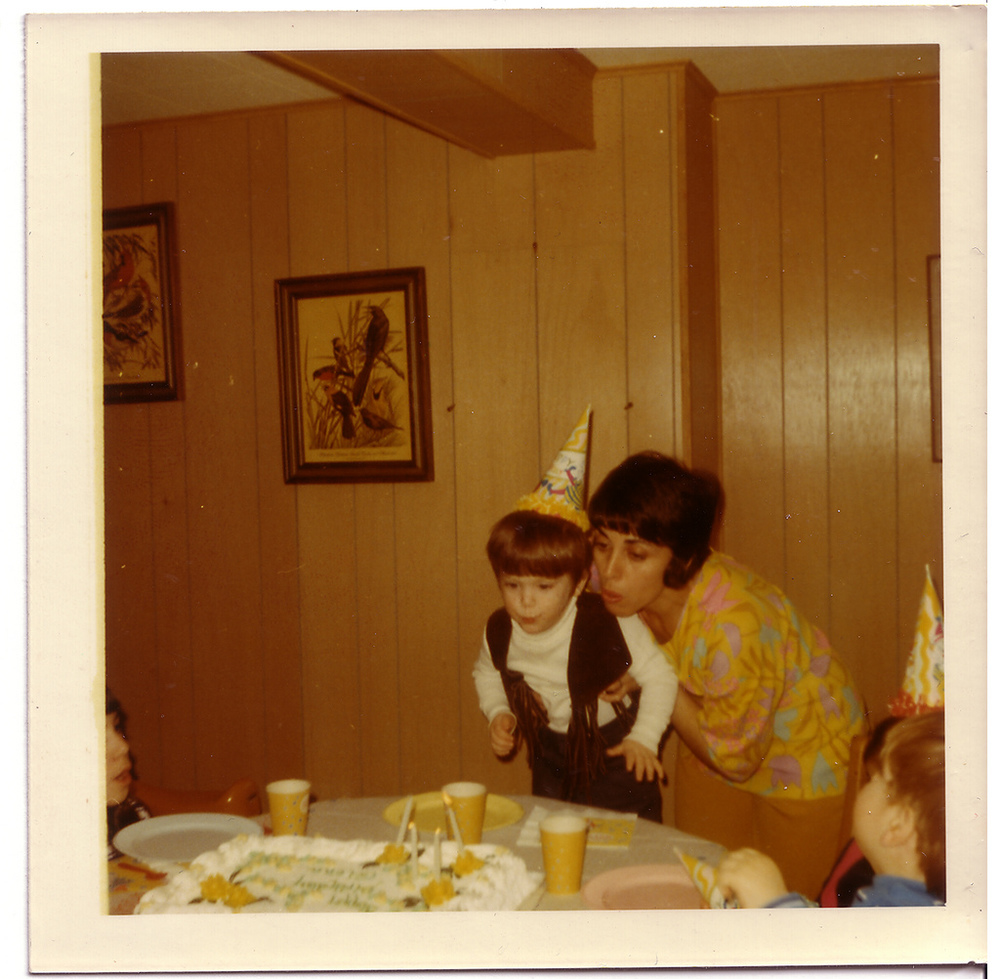 The author, age 3, in styling duds with his mother.