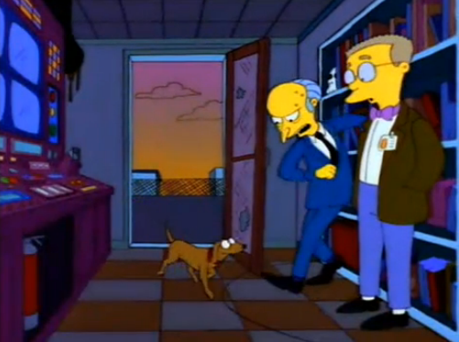 """Oh, for God's sake! (slams door shut) Good bye, Springfield. From Hell's heart, I stab at thee!"""