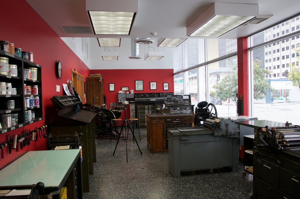 The letterpress shop at SVC