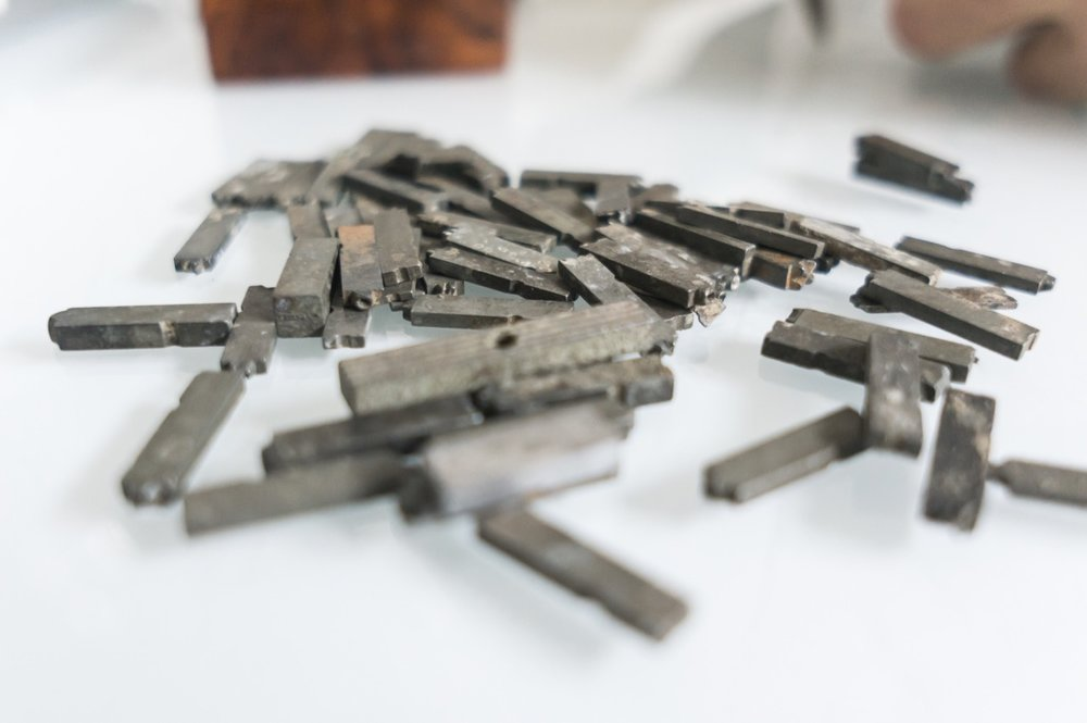 Some of the Doves Press type recovered from the murky depths of the Thames