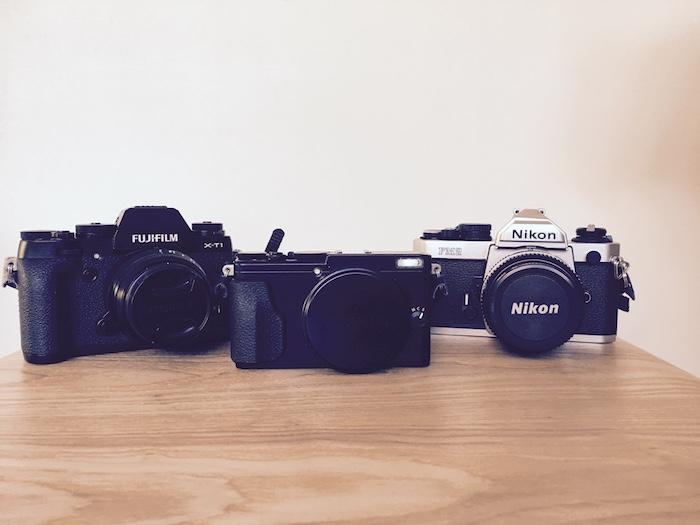 Fuji XT-1, Fuji X-70 and Nikon FM2