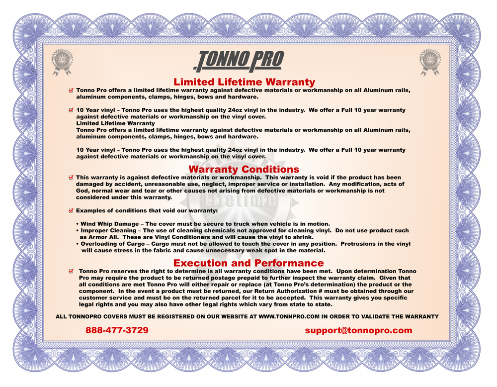 Tonno Pro Limited Lifetime Warranty