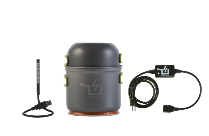 Includes ThePower Pot with Lid / Bowl / Skillet, 5V USB Regulator, & theUSB 5 LED Light.