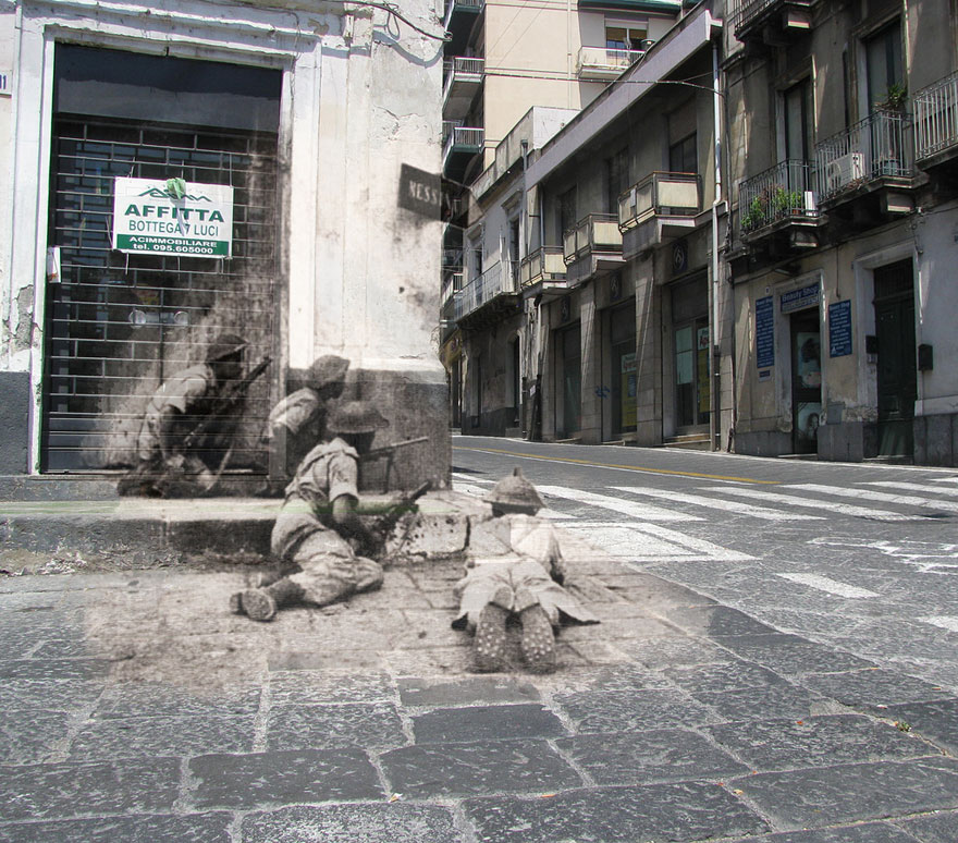 """Corner covered, 1943, Acireale, Sicily"""