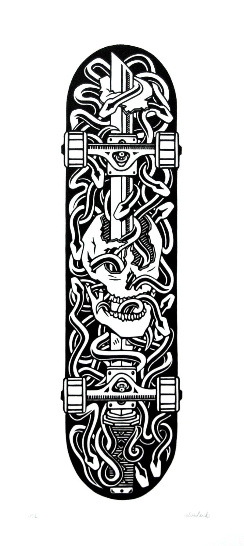 Skateboard with Skull, Sword, and Snakes