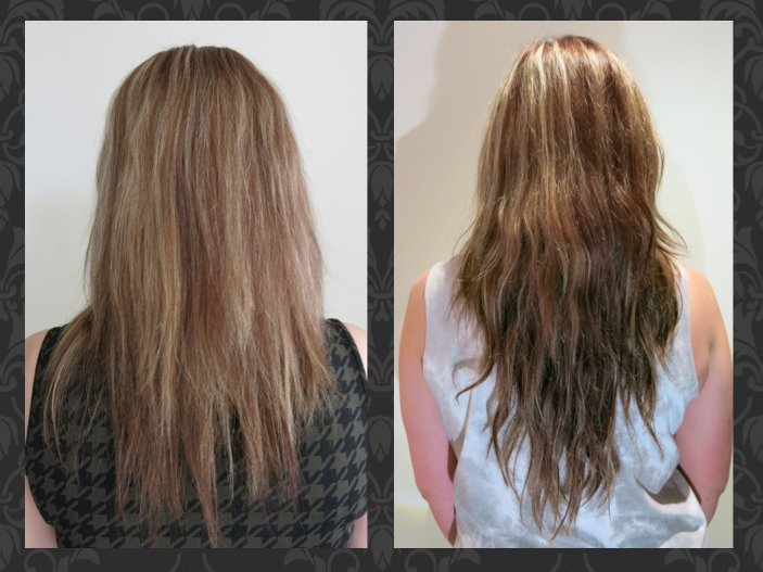 Before and after a full head of micro weft extensions