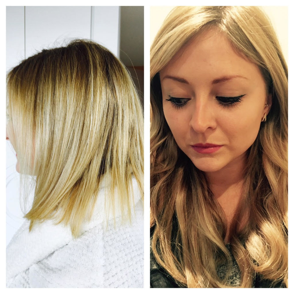 before and after We are Dolls hair extensions