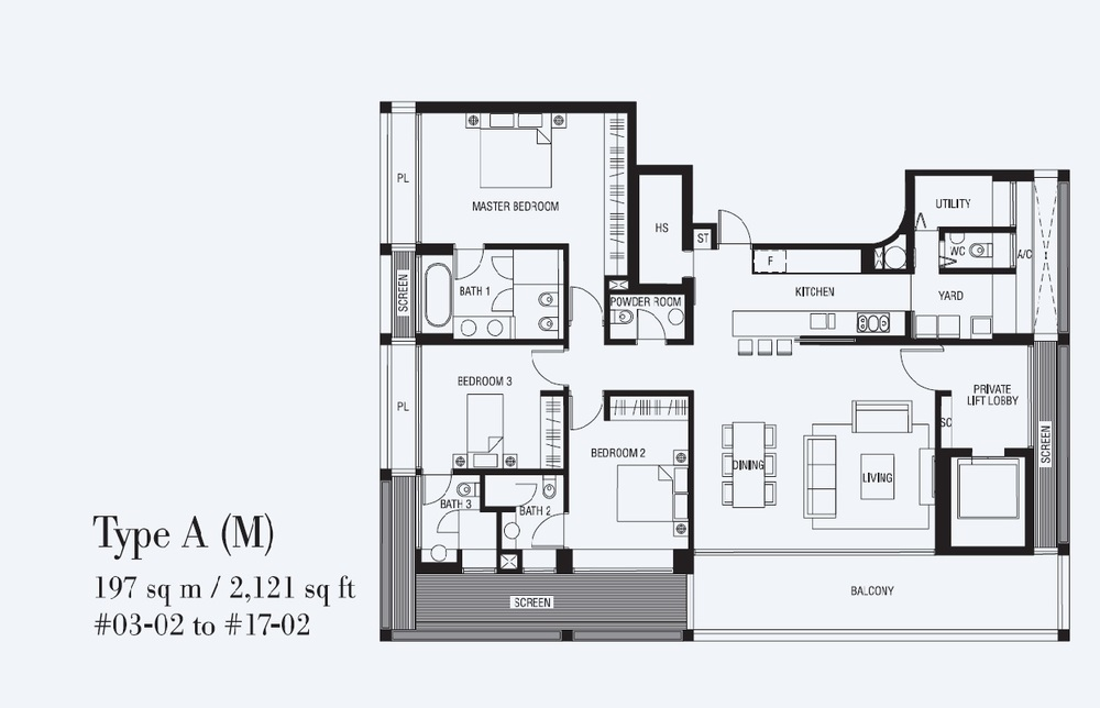 3 Bedroom - Type A (M)