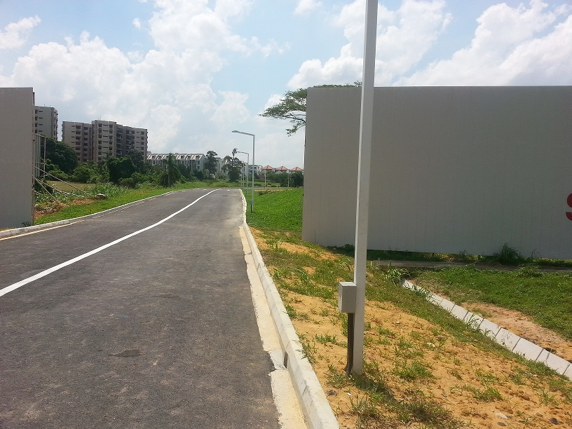 Belgravia Drive, a newly finished access road to Belgravia Villas