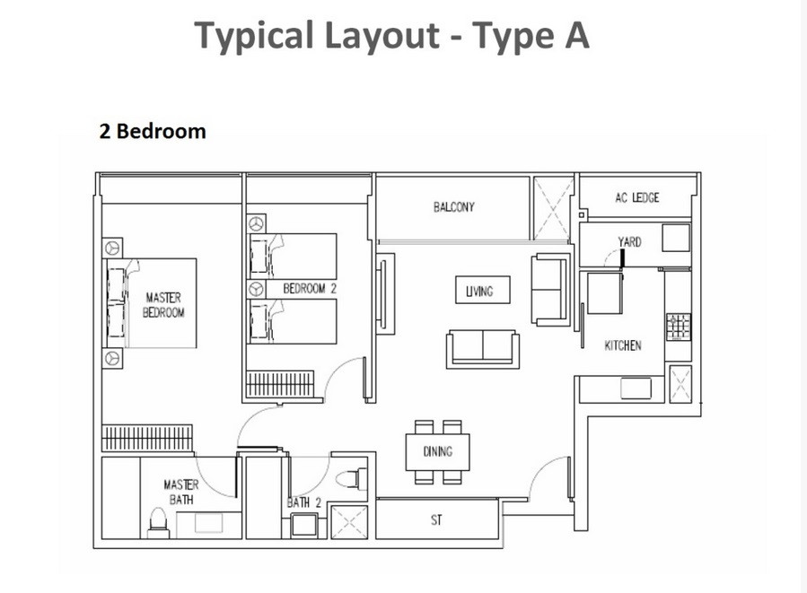 The Interlace - 2 Bedroom Floor Plan