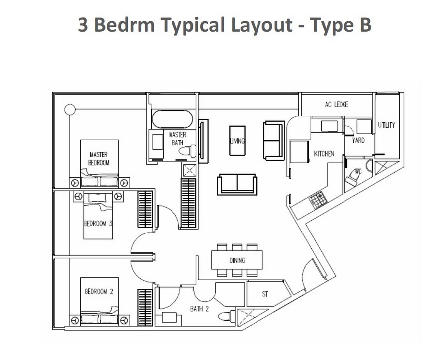The Interlace - 3 Bedroom Floor Plan