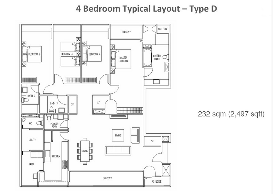 The Interlace - 4 Bedroom Floor Plan