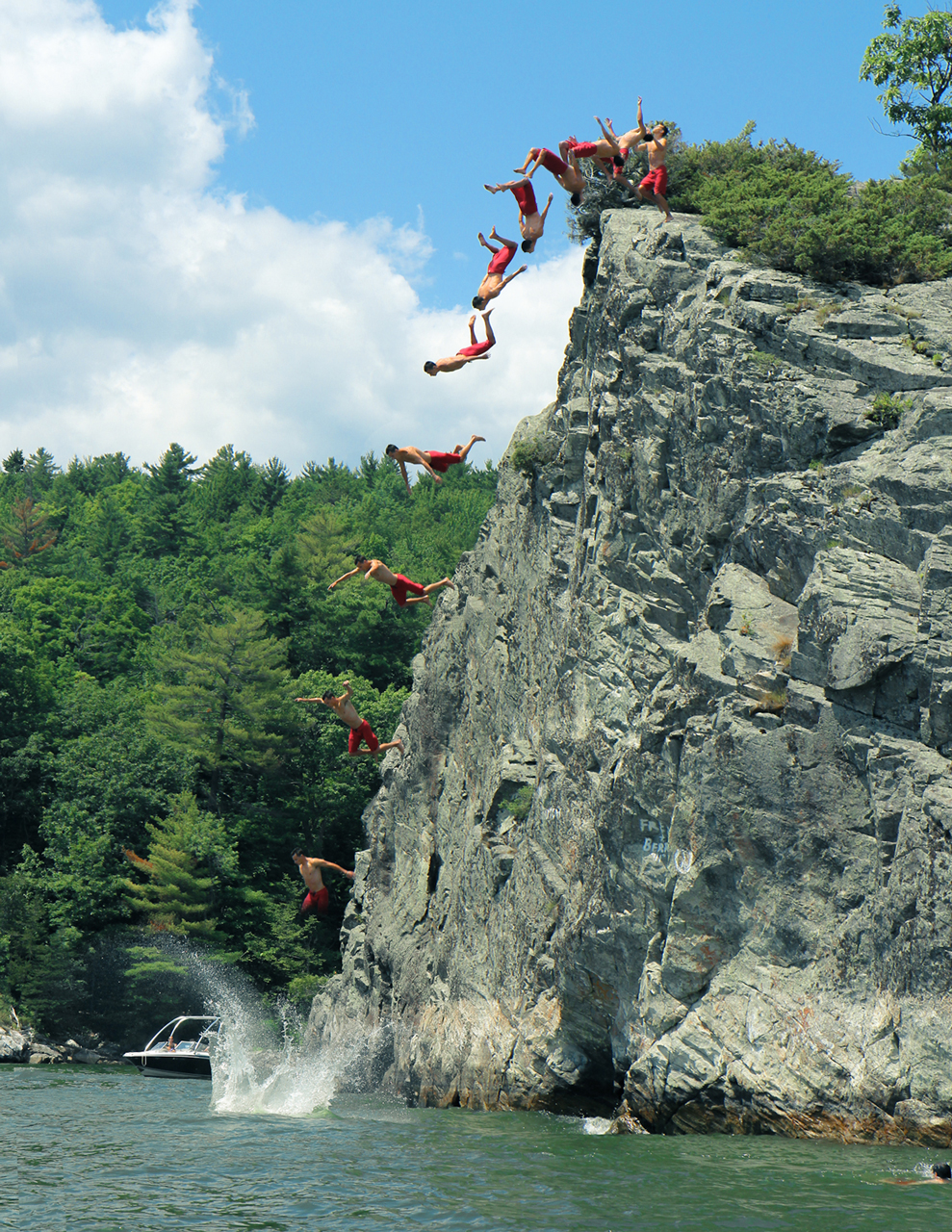 camp-ladue :     Riley floats off Barn Rock.