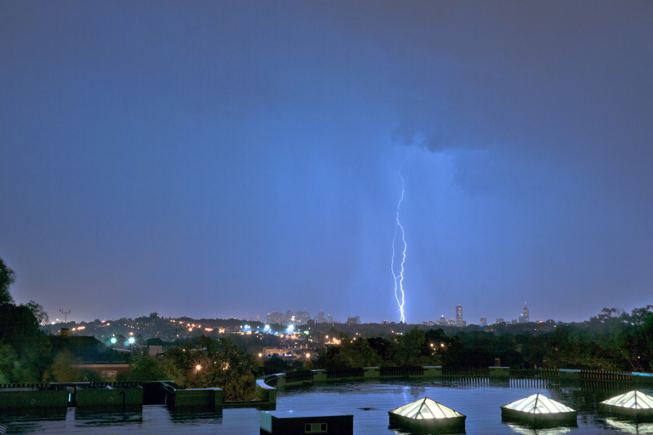 Lightning strikes Boston. View from the Library Roof of @TuftsUniversity