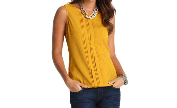LOFT Pleated Bubble Blouse