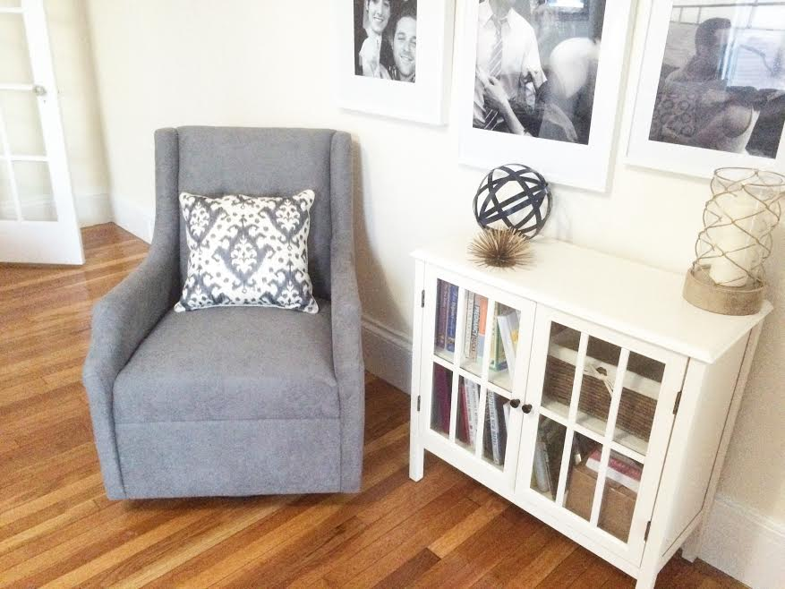Rocking Chair (this One Is A Bassett From Buy Buy Baby) | Pillow (similar)  | Bookcase (similar) | Gallery Frames