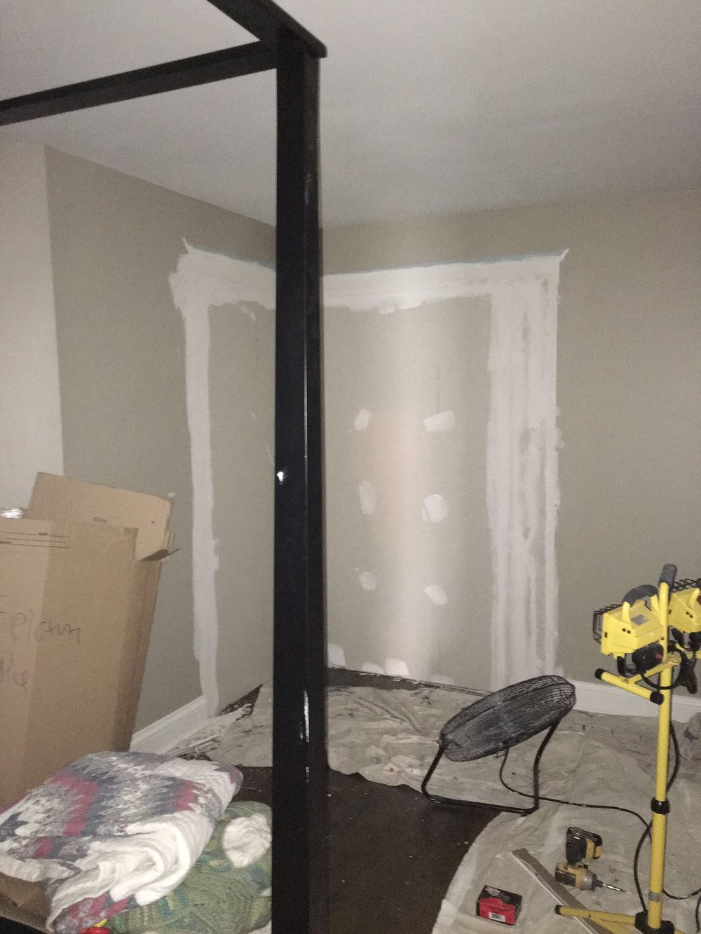 The master bedroom is framed and drywalled! My dad's company is building us custom closets that will go along the new back wall. They should be arriving sometime in November and I CANNOT wait.