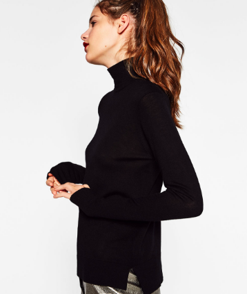 Zara Turtleneck Sweater in Black   - $29.90  I can't wait to wear this side slit sweater with the black trousers below, all of my printed summer culottes, fitted mini skirts, and of course jeans!