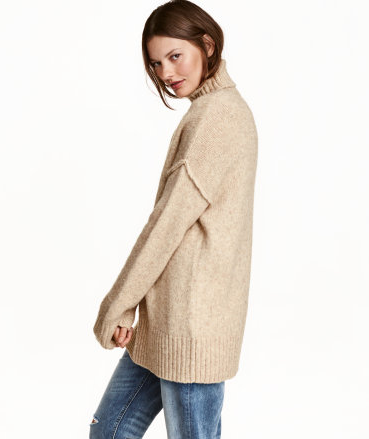 H&M Chunky Turtleneck Sweater in Light Beige   - $39.99  This made its way into my cart because it truly can be worn any day to any event. I love how this looks with denim but also plan to dress it up with black trousers and boots from above. There is nothing like an oversized comfy sweater. Fall I love you!