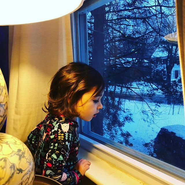 Woke up to LOTS of snow and her first snow day. Happy little camper. ❄️