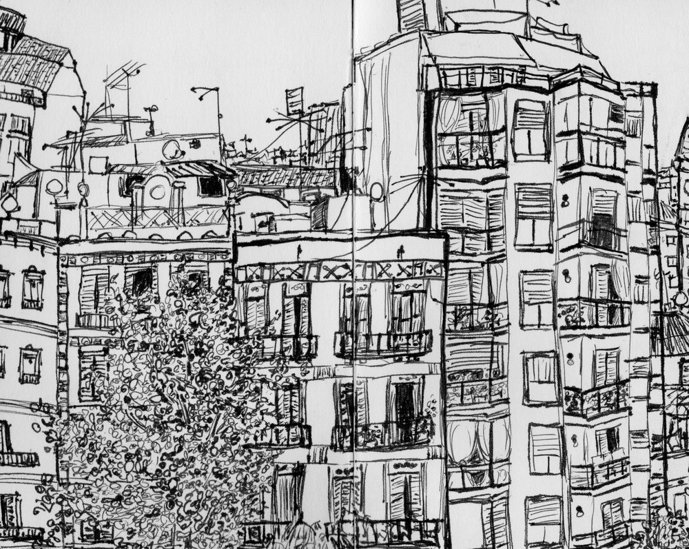 Katie Jurkiewicz drawing Barcelona Spain