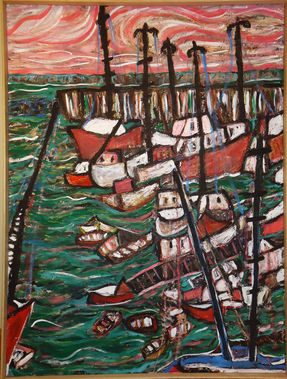 provincetown harbor pink painting