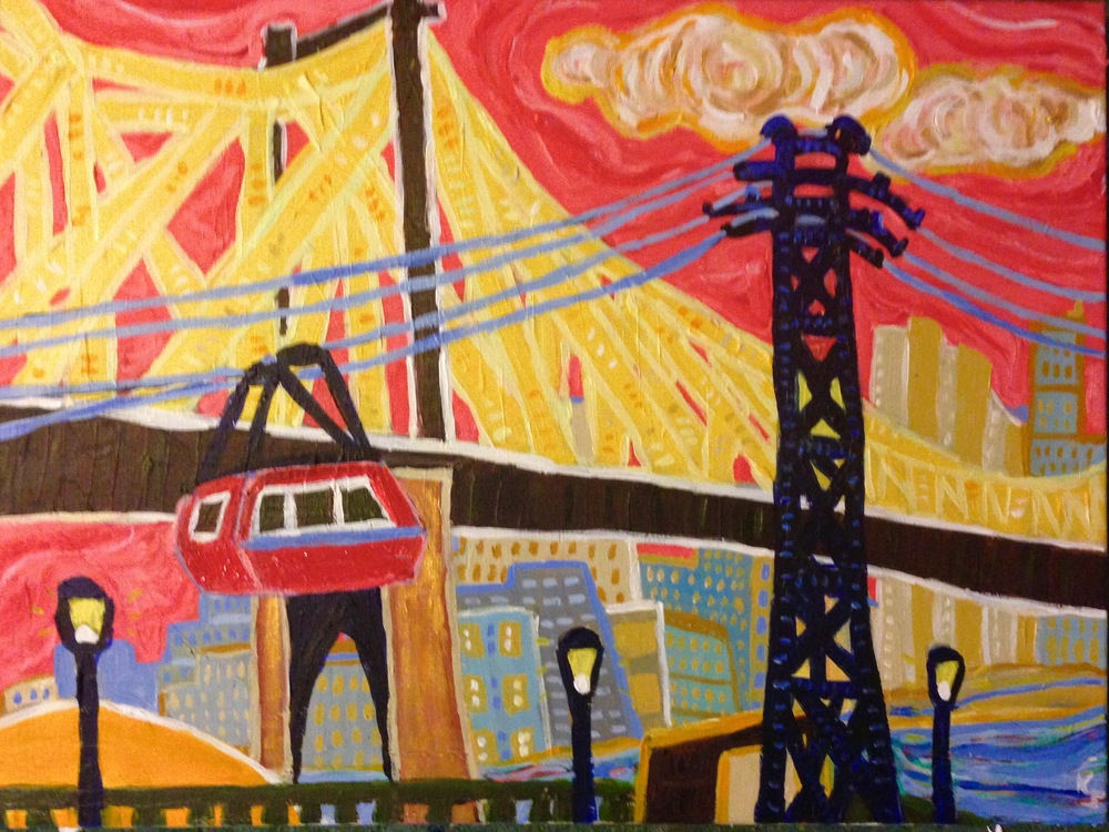 View from Roosevelt Island - looking back at Manhattan, the Queensboro Bridge and the Roosevelt Island Tramway. For sale on Etsy, $199,  click here .