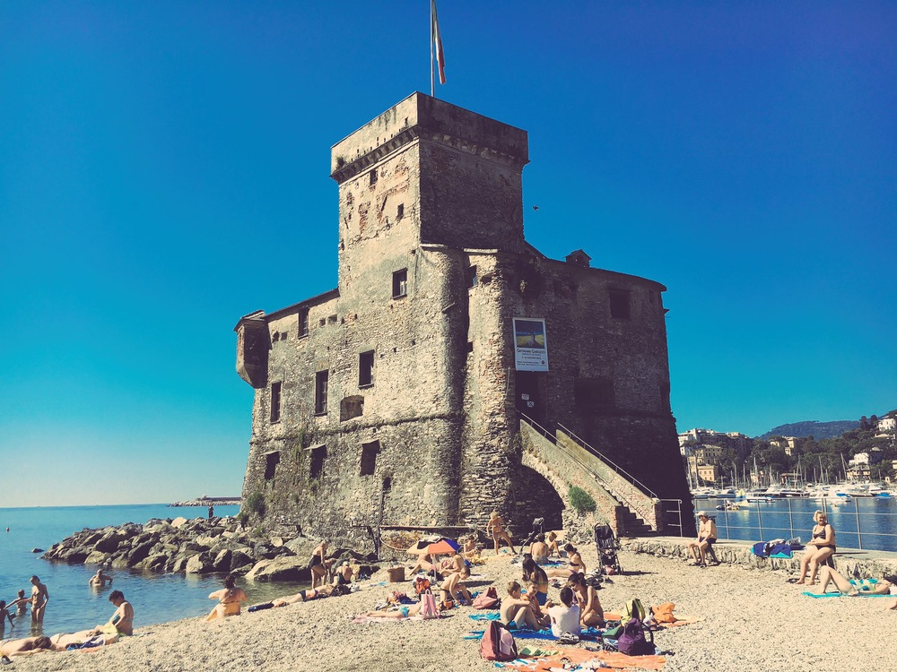 Rapallo castello with sunbathers