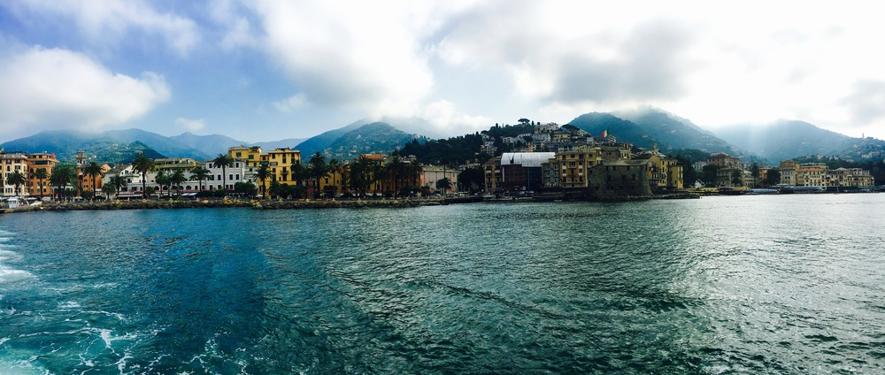 rapallo italy from boat with water