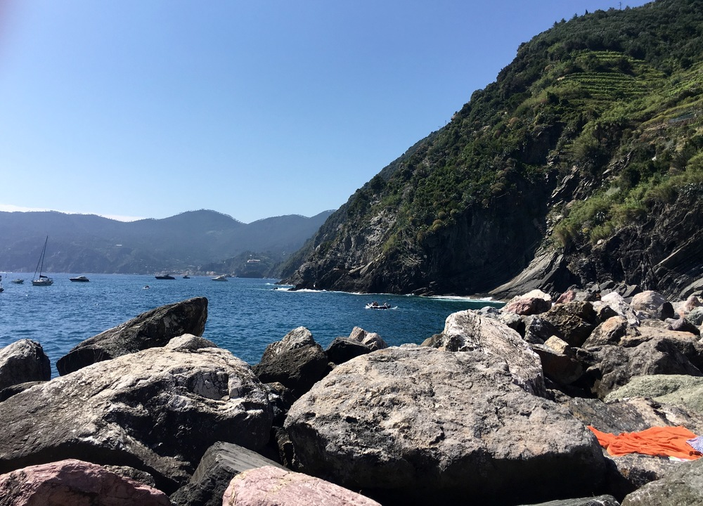 looking over the stones out to sea, Vernazza, Italy