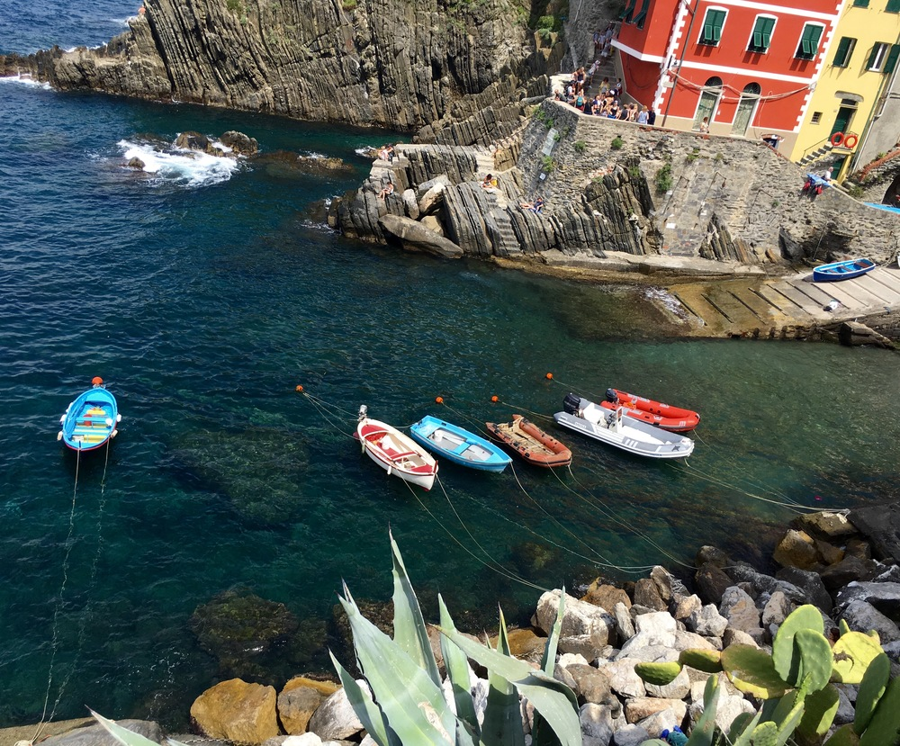 boats in the harbor of Riomaggiore, Cinque Terre, Italy
