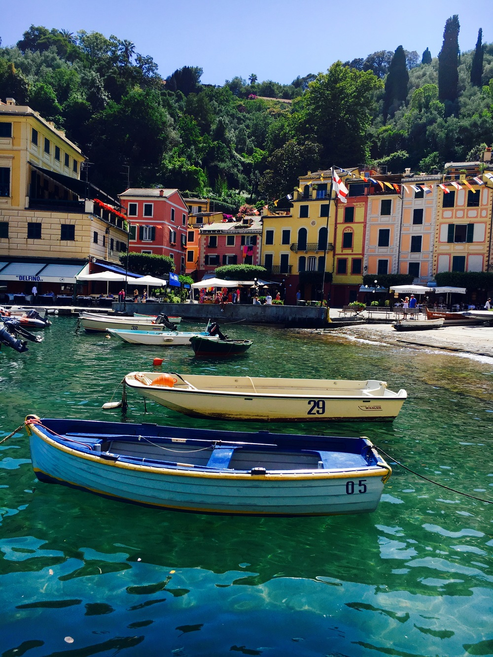 small boats in harbor of Portofino, Liguria, Italy