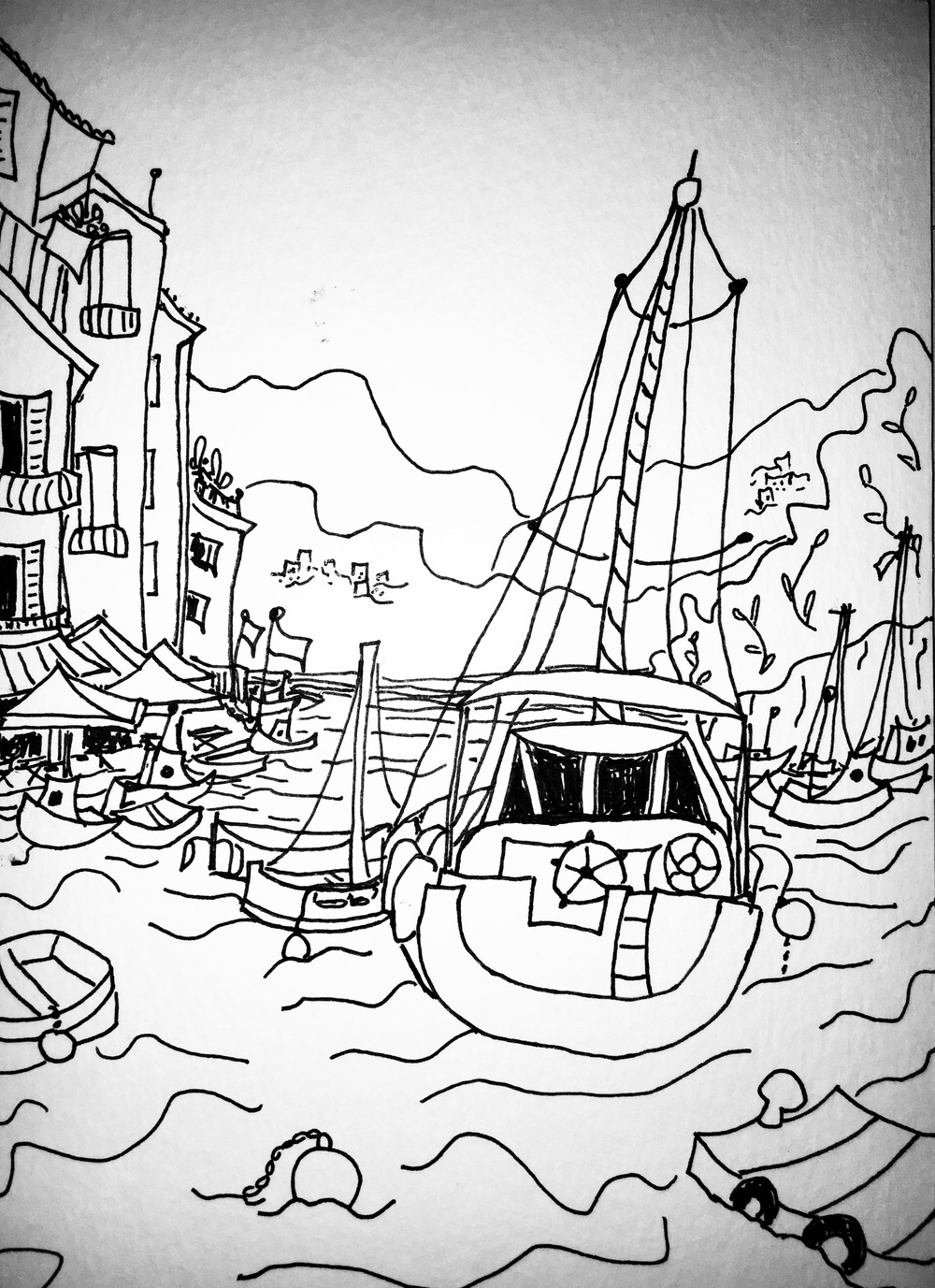 black and white line drawing of sailboat in Portofino, Italy by Katie Jurkiewicz