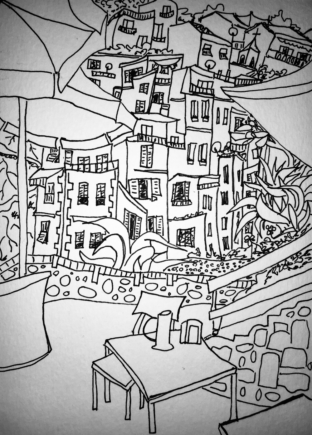 black and white line drawing of Riomaggiore, Italy by Katie Jurkiewicz